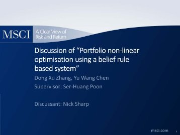 "Discussion of ""Portfolio non-linear optimisation using a belief rule ..."