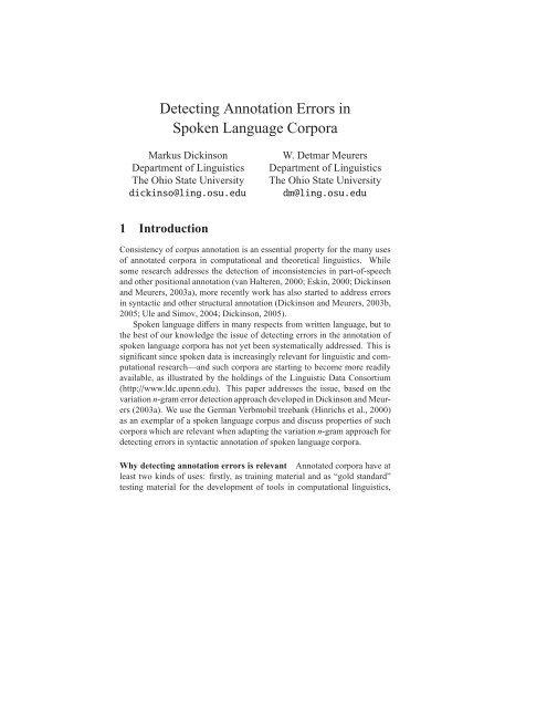 Detecting Annotation Errors in Spoken Language Corpora