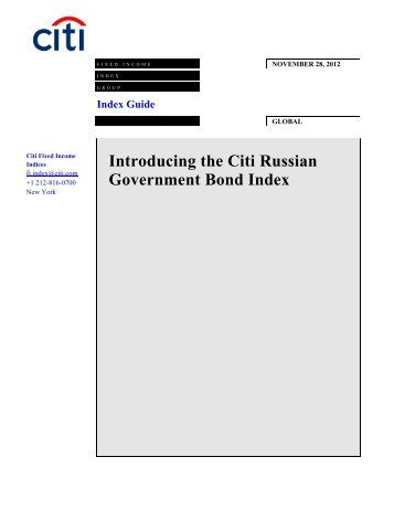 Introducing the Citi Russian Government Bond Index - The Yield Book