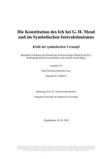 Die Konstitution des Ich bei G. H. Mead und im Symbolischen ...