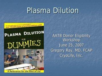 Plasma Dilution