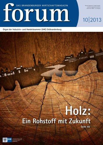 forum 10|2013 - Wirtschaftsmagazin Ostbrandenburg