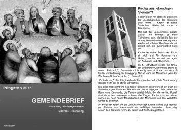 gottesdienste und veranstaltungen - Ev. Kirchengemeinde Manzen
