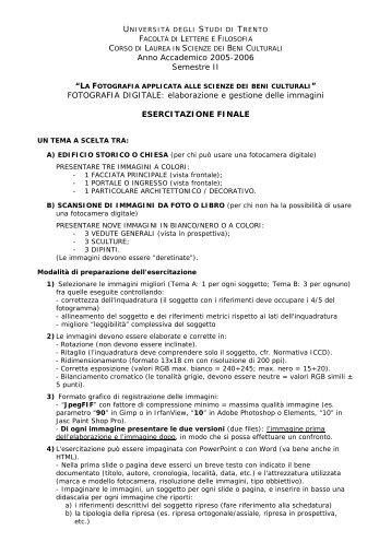 Esercitazione richiesta - PEOPLE - Università degli Studi di Trento
