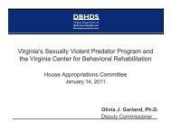 Virginia's Sexually Violent Predator Program and the Virginia Center ...