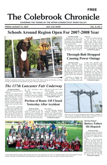 August 31, 2007 - Colebrook Chronicle