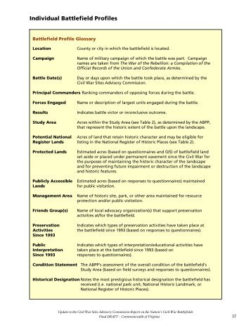 Individual Battlefield Profiles - National Park Service