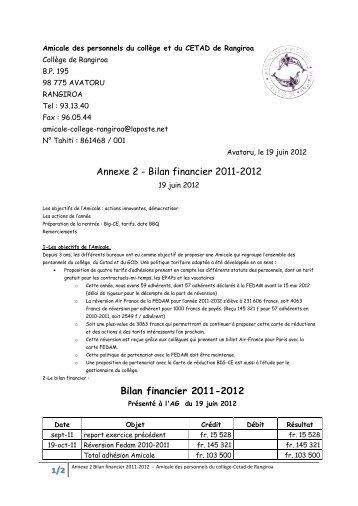 Bilan financier 2011-2012 Bilan financier 2011-2012