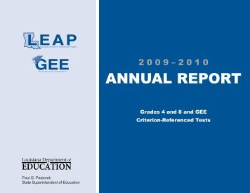 ANNUAL REPORT - Louisiana Department of Education