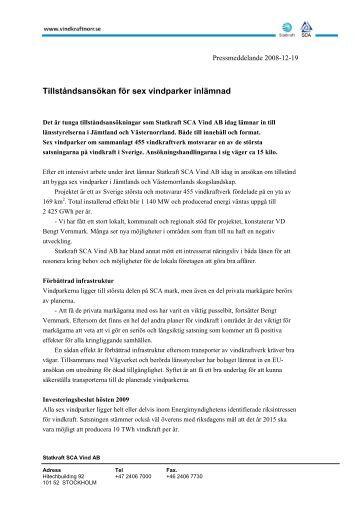 Tillståndsansökan för sex vindparker inlämnad - Vindkraft Norr