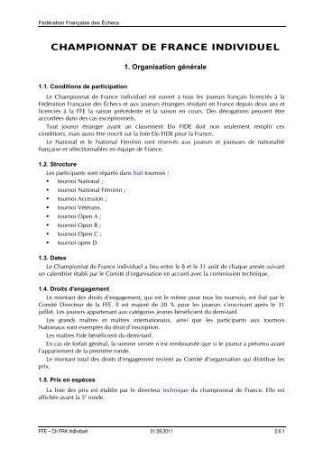 championnat de france individuel - Fédération Française des Échecs