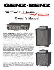 Shuttle 6.2 Owners Manual - Genz Benz