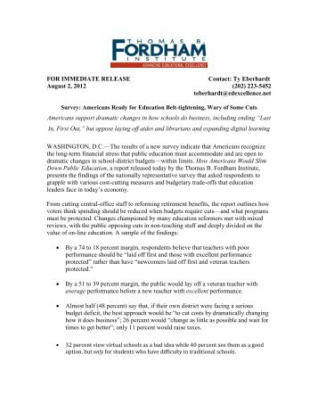 FOR IMMEDIATE RELEASE Contact: Ty Eberhardt August 2, 2012 ...