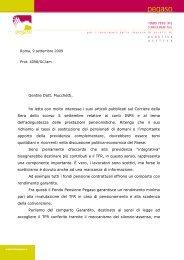 Lettera Presidente al Corriere - Fondo Pegaso