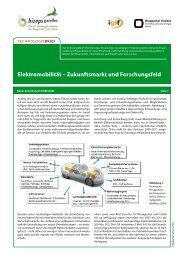 Elektromobilität – Zukunftsmarkt und Forschungsfeld - Bizeps
