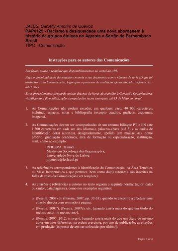 Instruções para os autores das Comunicações