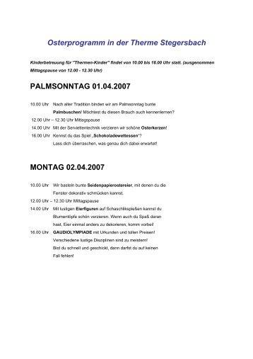 Osterprogramm in der Therme Stegersbach PALMSONNTAG 01.04 ...