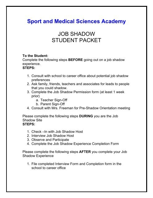 Sport and Medical Sciences Academy JOB SHADOW STUDENT