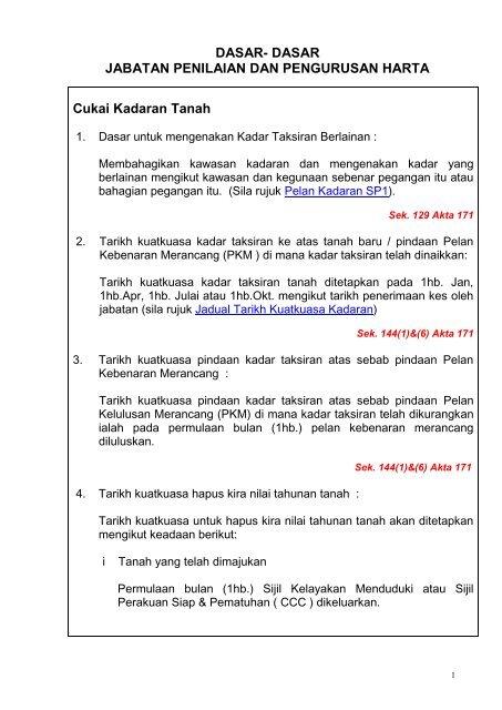 Cukai Kadaran Tanah Jabatan Penilaian Mpsp