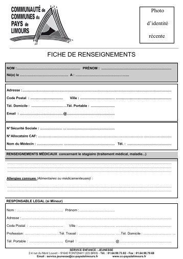 FICHE DE RENSEIGNEMENTS stage.pub - Communauté de ...