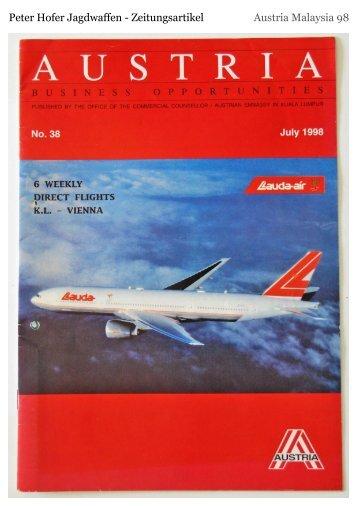 Peter Hofer Jagdwaffen - Zeitungsartikel Austria Malaysia 98