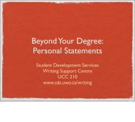 Personal Statements - Student Development Services