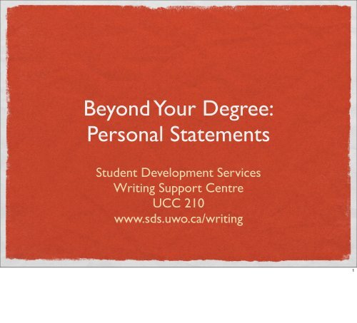 Personal Statements - Student Development Services