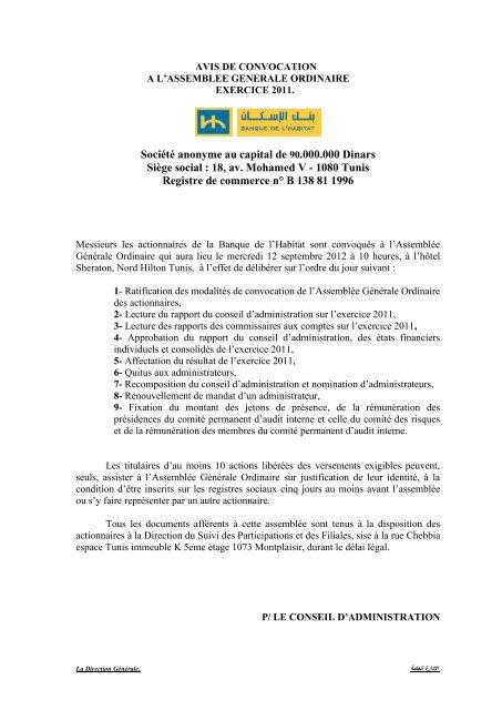 18 Av Mohamed V 1080 Tunis Registre De Bna Capitaux
