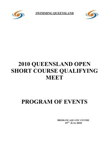 Program of Events - 2002 Qld Short Course Champs