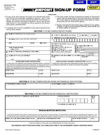 Standard Form 1199a Direct Deposit Sign Up Form June 1987 Ebt