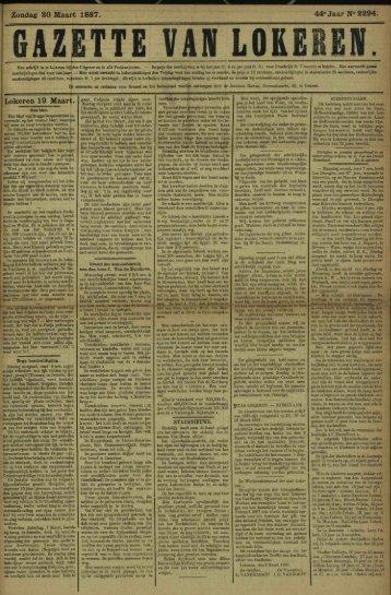 Zondag 20 Maart 1887. 44» Jaar N° 2294. Lokeren 19 Maart.