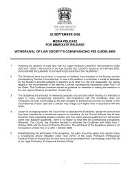 Withdrawal of Law Society's Conveyancing Fee Guidelines