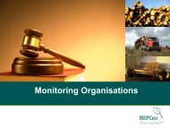 Support by third party programs and monitoring organizations Peter ...