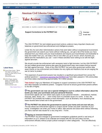 Latest News Support Corrections to the PATRIOT Act The USA ...