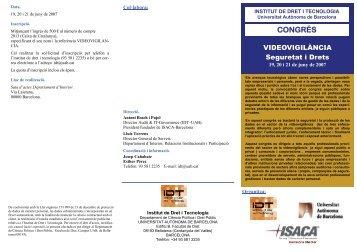 Juny 2007. Videovigilància. Seguretat i Drets. - Institute of Audit & IT ...