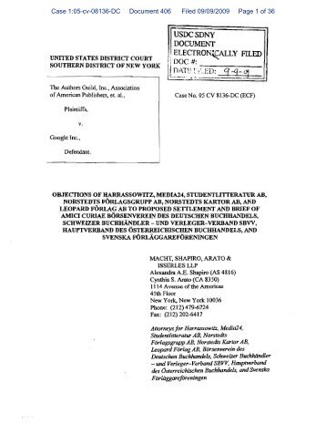 Case 1:05-cv-08136-DC Document 406 Filed 09/09/2009 Page 1 of 36