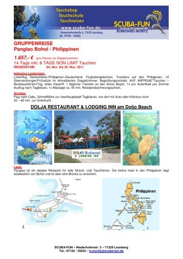 GRUPPENREISE Panglao Bohol / Philippinen 1.657 - Scuba-Fun