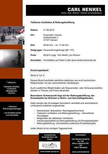 Seminar über Taktische Ventilation und ... - Fire-Circle