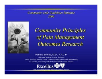 Community Principles of Pain Management Outcomes Research