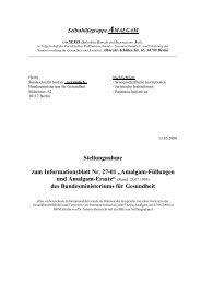 "Stellungnahme zum Informationsblatt Nr. 27-01 ""Amalgam ..."