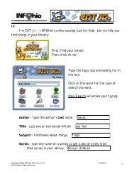 Hi! I'm CAT Jr. - INFOhio's online catalog just for kids! Let me help ...