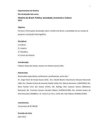 História do Brasil: Política, Sociedade, Economia e Cultura - UCAM