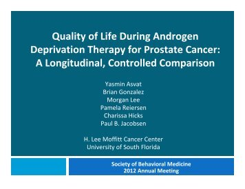 Quality of Life during Androgen Deprivation Therapy for Prostate ...