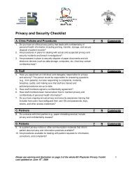 Privacy and Security Checklist