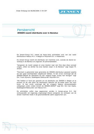 Persbericht Jensen Benelux - Jensen Group