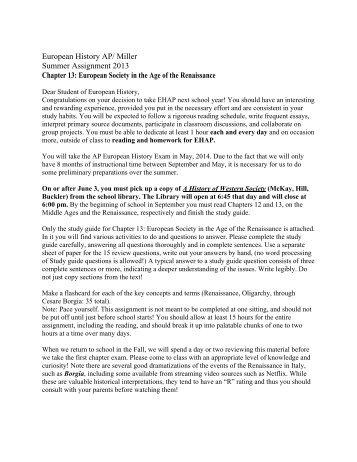 European History AP/ Miller Summer Assignment 2013 Chapter 13 ...