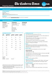 Canberra Times Newspaper Specifications - Fairfax Media Adcentre