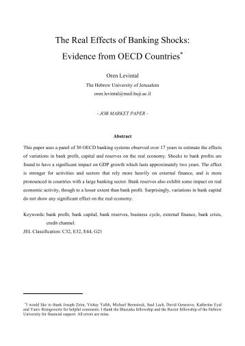 The Real Effects of Banking Shocks: Evidence from OECD Countries