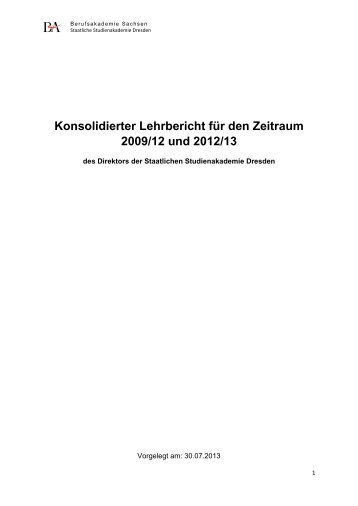 Konsolidierter Lehrbericht des Direktors der Staatlichen ...