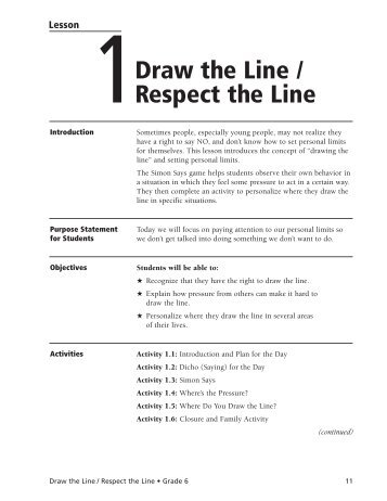 Draw the Line / Respect the Line - ETR Health Promotion